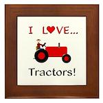 I Love Red Tractors Framed Tile