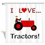 I Love Red Tractors Shower Curtain