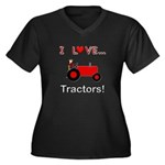 I Love Red Tractors Women's Plus Size V-Neck Dark