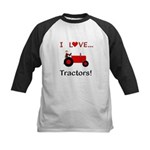 I Love Red Tractors Kids Baseball Jersey
