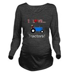 I Love Blue Tractors Long Sleeve Maternity T-Shirt