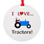 I Love Blue Tractors Round Ornament