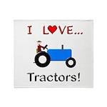 I Love Blue Tractors Throw Blanket