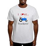 I Love Blue Tractors Light T-Shirt