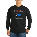 I Love Blue Tractors Long Sleeve Dark T-Shirt