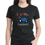 I Love Blue Tractors Women's Dark T-Shirt