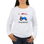 I Love Blue Tractors Women's Long Sleeve T-Shirt