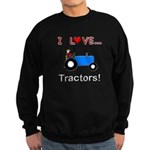 I Love Blue Tractors Sweatshirt (dark)