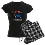 I Love Blue Tractors Women's Dark Pajamas
