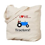 I Love Blue Tractors Tote Bag