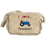 I Love Blue Tractors Messenger Bag