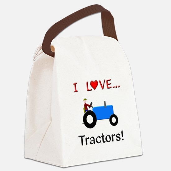 I Love Blue Tractors Canvas Lunch Bag