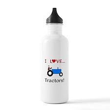 I Love Blue Tractors Water Bottle