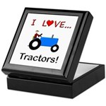 I Love Blue Tractors Keepsake Box