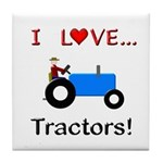 I Love Blue Tractors Tile Coaster
