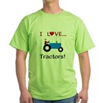 I Love Blue Tractors Green T-Shirt
