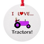 I Love Purple Tractors Round Ornament