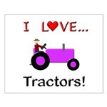 I Love Purple Tractors Small Poster
