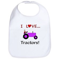 I Love Purple Tractors Bib