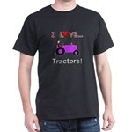 I Love Purple Tractors Dark T-Shirt