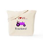I Love Purple Tractors Tote Bag