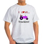 I Love Purple Tractors Light T-Shirt