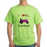 I Love Purple Tractors Green T-Shirt