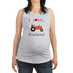 I Love Orange Tractors Maternity Tank Top