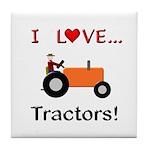 I Love Orange Tractors Tile Coaster