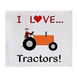 I Love Orange Tractors Throw Blanket