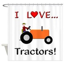 I Love Orange Tractors Shower Curtain