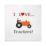 I Love Orange Tractors Queen Duvet