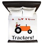 I Love Orange Tractors King Duvet