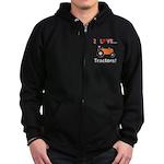 I Love Orange Tractors Zip Hoodie (dark)