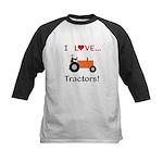 I Love Orange Tractors Kids Baseball Jersey