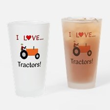 I Love Orange Tractors Drinking Glass