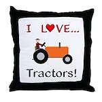 I Love Orange Tractors Throw Pillow