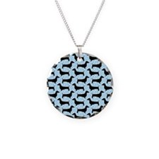 Baby Blue Polka Dachshunds Necklace