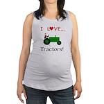 I Love Green Tractors Maternity Tank Top