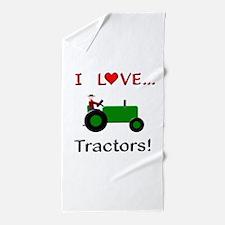 I Love Green Tractors Beach Towel