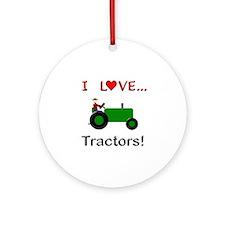 I Love Green Tractors Ornament (Round)