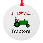 I Love Green Tractors Round Ornament