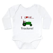 I Love Green Tractors Long Sleeve Infant Bodysuit