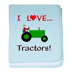 I Love Green Tractors baby blanket