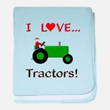 I Love Green Tractors baby blanket