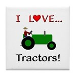 I Love Green Tractors Tile Coaster