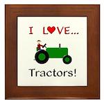I Love Green Tractors Framed Tile