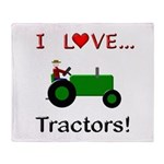 I Love Green Tractors Throw Blanket