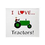 I Love Green Tractors Throw Blanket