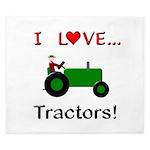 I Love Green Tractors King Duvet